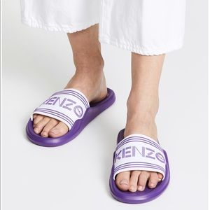 NEW • Kenzo • Logo Pool Sandals Slides Purple 11
